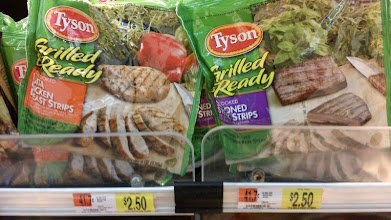 Photo: Walmart had several varieties of the Tyson Grilled & Ready Chicken Strips from which to choose. The Fajita Chicken strips looked yummy, and I was surprised to see Seasoned Steak Strips, too!