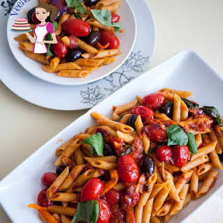 Cherry Tomatoes Olives and Basil Pasta.