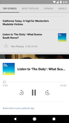 Screenshot 1 for The New York Times's Android app'