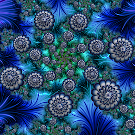 Flowers blue white by Cassy 67 - Illustration Abstract & Patterns ( digital, love, harmony, surreal, flowers, abstract art, trippy, spiral, abstract, fractals, digital art, psychedelic, modern, light, fractal, style, energy, fashion )