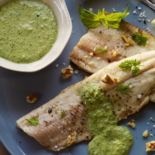 Pan-Roasted Trout with Walnut-Green Sauce