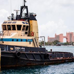 Looking Toward Atlantis by Debbie Jones - Transportation Boats ( paradise island, boat, atlantis, bahamas, nassau )