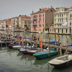 Venice by John Walton - Landscapes Waterscapes ( #heritagefocus, #boats, #water, #venice )