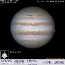Photo: Jupiter from this past Thursday in just a hair above average conditions but clear skies! Yes, that's the GRS rising on the left and the moon Io moving off the limb on the right!