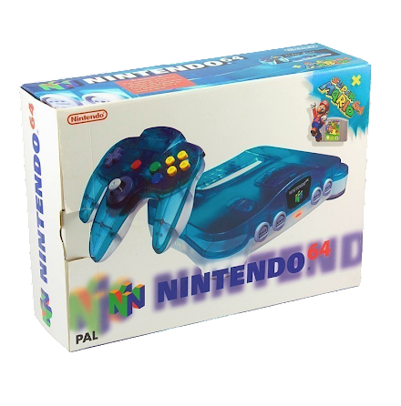 Nintendo 64 Console Clear Blue / White Mario Pak