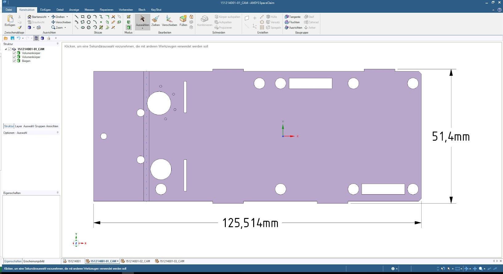 Модель развёртки в ANSYS SpaceClaim. Настраиваемые таблицы сгибов в SpaceClaim помогают задавать удлинение на гиб и K-фактор, определяя таким образом размеры развёртки.