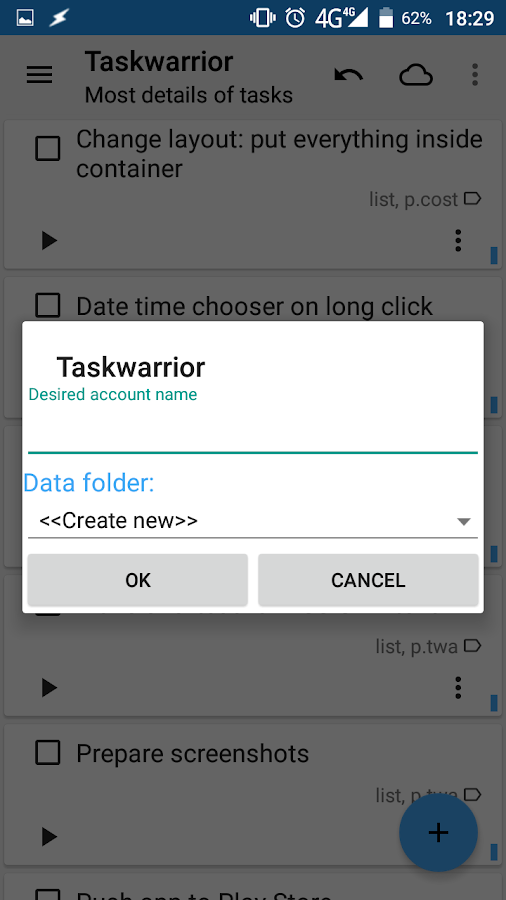 Taskwarrior for Android- screenshot