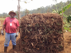 Photo: Submitted by Food for the Hungry  Above-ground organic composting pile from a Conservation Agriculture Workshop in South Kivu, DRC.