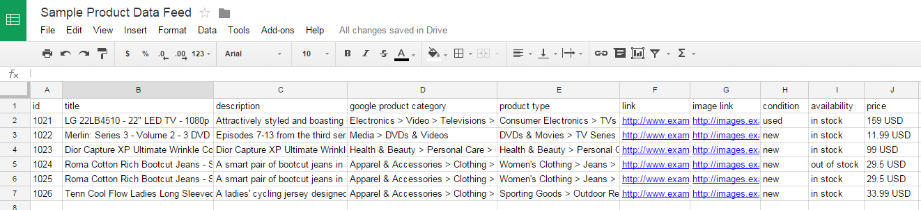 Example of a clunky spreadsheet for product data