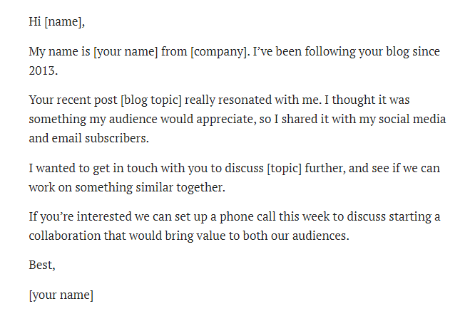 Template for micro influencer outreach.