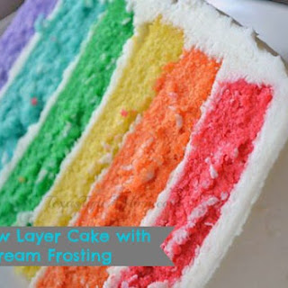 6 Layer Rainbow Cake Recipe with Easy Buttercream Frosting.