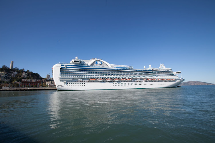Ruby Princess docked at San Francisco's Pier 27 before an itinerary to the Mexican Riviera. You can see Coit Tower at the left.