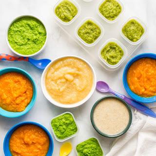 Peas, Green Beans, Applesauce, Butternut Squash And Oatmeal.