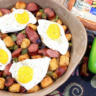Beef Smoked Sausage and Tater Tot Casserole.