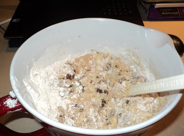 Add the dry mixture to the shortening mixture, mix well..stir in nuts.  Drop...