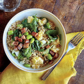 Veggie Fried Rice with Crispy Ham.