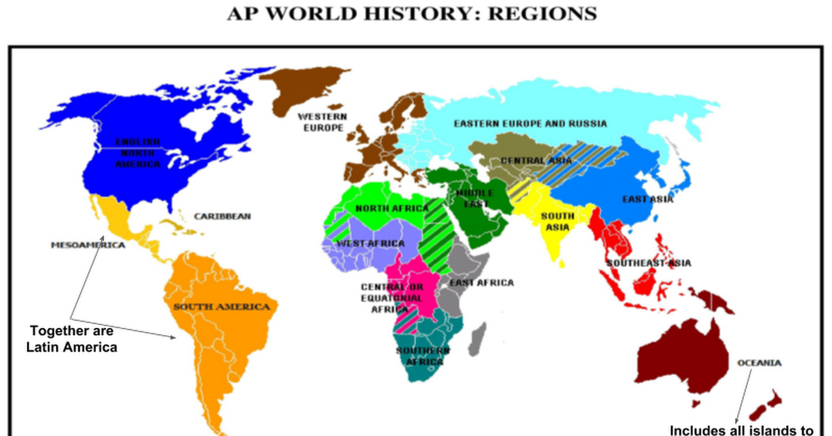 Ap Regions Map ap world regions map and time periods   Google Slides