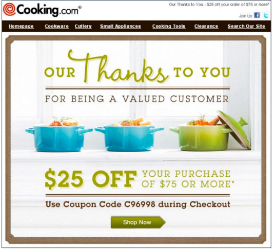 Cooking.com second purchase offer