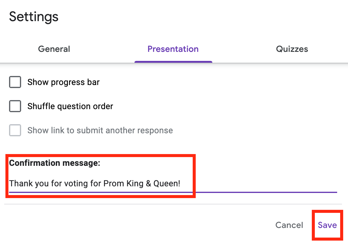 Confirmation message after students vote