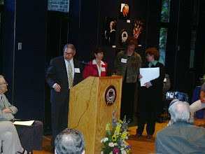 """Photo: Bernie Galler and the """"special"""" committee, Liz Sweet, Carol Pirkola, and Shifrah Nenner about to present the memory book to Dr. Bartels"""