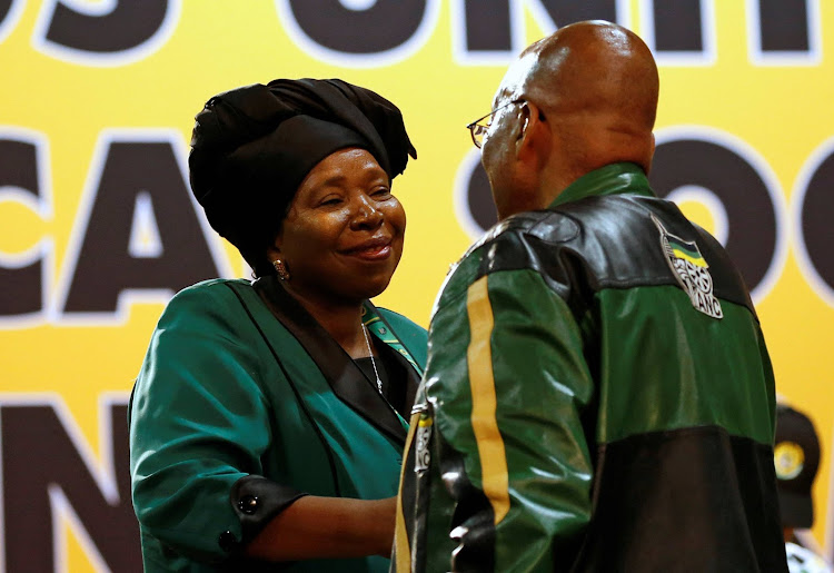 President of South Africa, Jacob Zuma greets Nkosazana Dlamini-Zuma, former minister and chairwoman of the African Union Commission, at the 54th National Conference of the ruling African National Congress (ANC) at the Nasrec Expo Centre in Johannesburg, South Africa December 16, 2017. Image: SIPHIWE SIBEKO/REUTERS