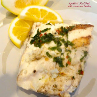 Grilled Halibut with Lemon and Parsley.