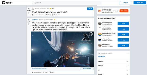reddit soziale nachrichten ansprechende content-werbung