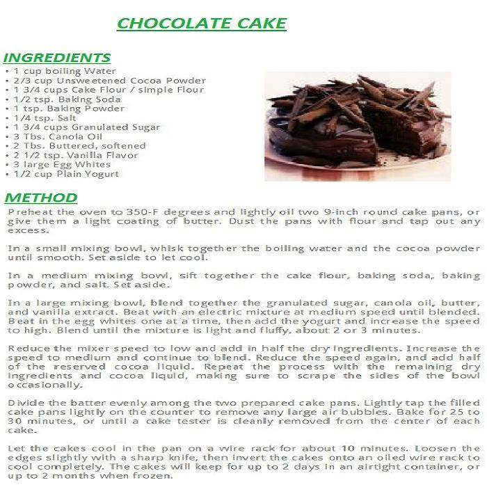 Chocolate cake english recipes android apps on google play for Ingredients to bake a cake from scratch