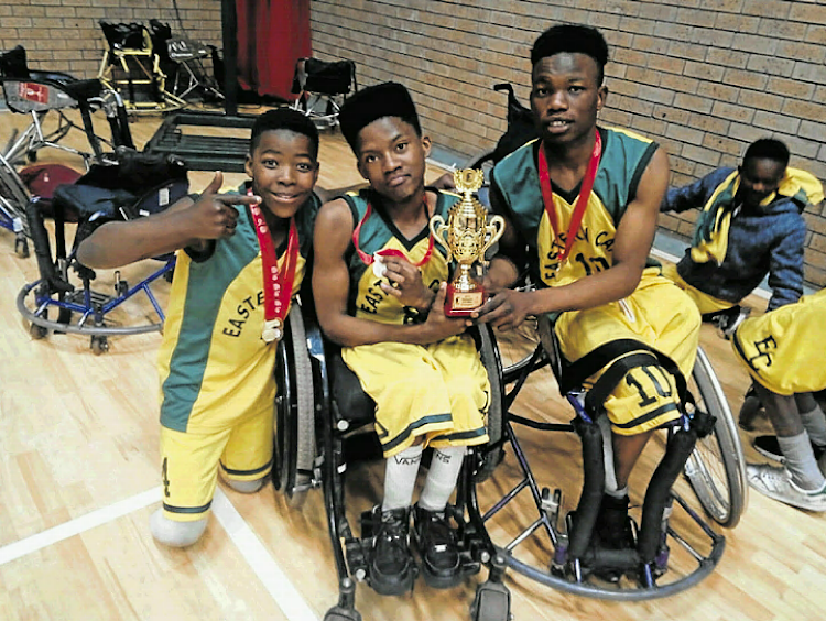 From left, Ntando Nokama, Mava Mlomo and Avela Toyi. Nokama, 13, celebrates with his teammates after winning gold at the SA Vodacom U23 Championships that were recently held in Johannesburg