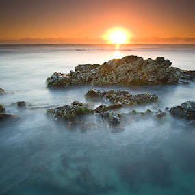 No Diving by Jason Asher - Landscapes Waterscapes ( water, waterscape, new south wales, nsw, seascape, hastings point, se01, sun, ss01, dawn, pool, no diving, australia, sunrise, rocks )