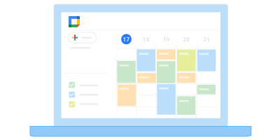 Calendar displayed on laptop