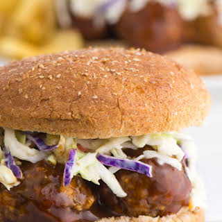 BBQ Lentil Meatball Sandwich with Sweet Miso Coleslaw.