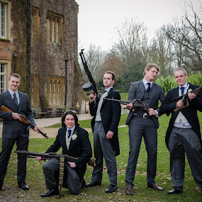 Boys and their Toys by Parker Lord - Wedding Groom ( groomsmen, guns, wedding, weapons, groom )