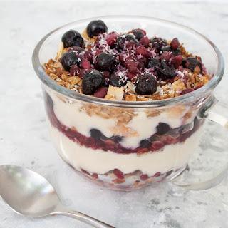 Vegan Fruit and Yogurt Breakfast Parfait.