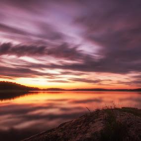 Sunset at Vannsjø by Morten Pettersen - Landscapes Sunsets & Sunrises ( vannsjø, sunset, seascape )