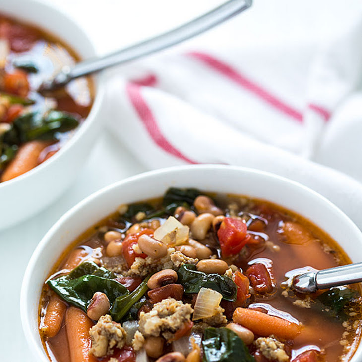 Black-Eyed Pea Soup with Sausage and Spinach Recipe