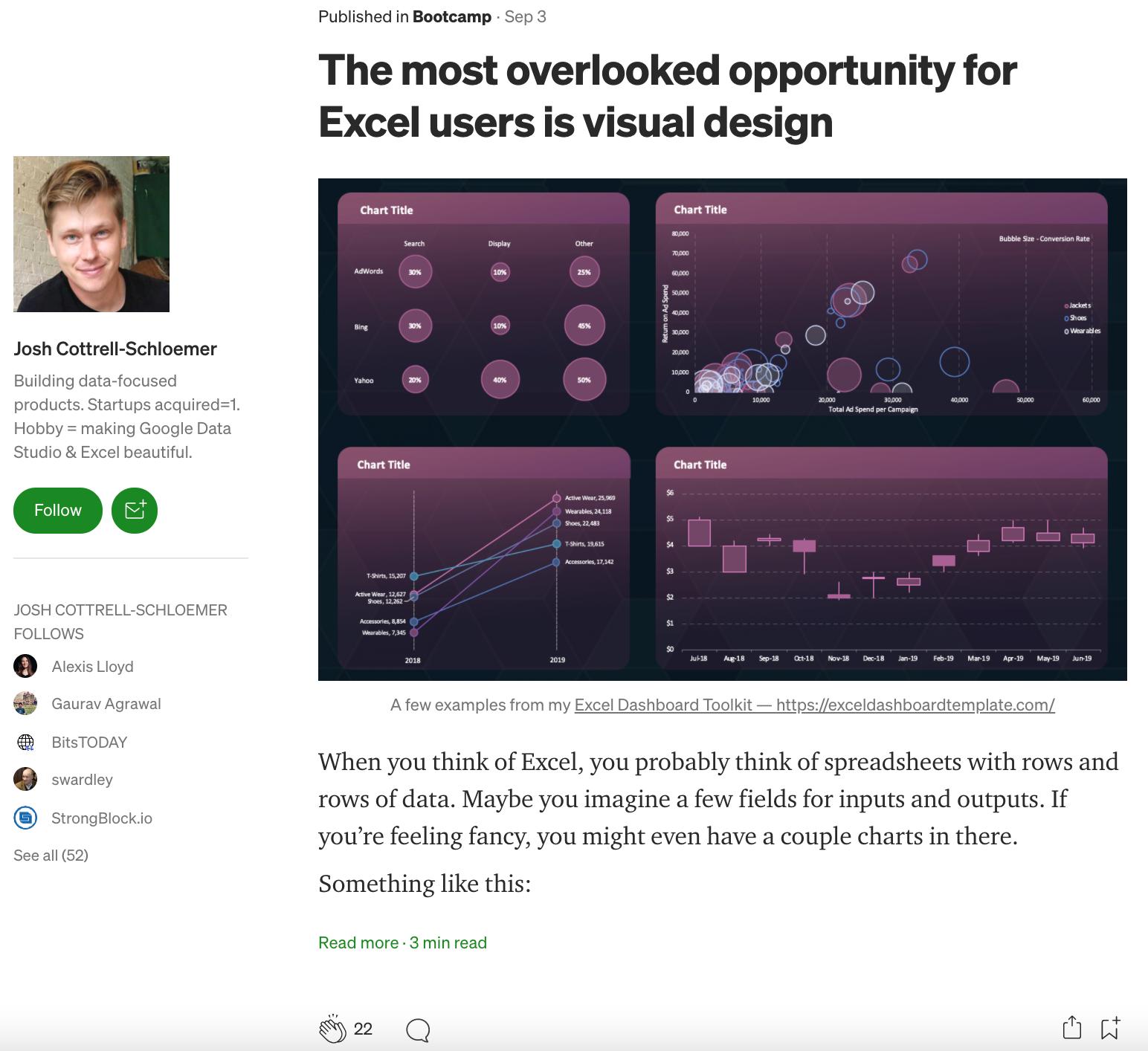 screenshot of josh cottrell-schloemer's article featuring an excel dashboard