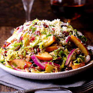 Honey Mustard Brussels Sprout Salad with Cranberries, Apples and Pecans.