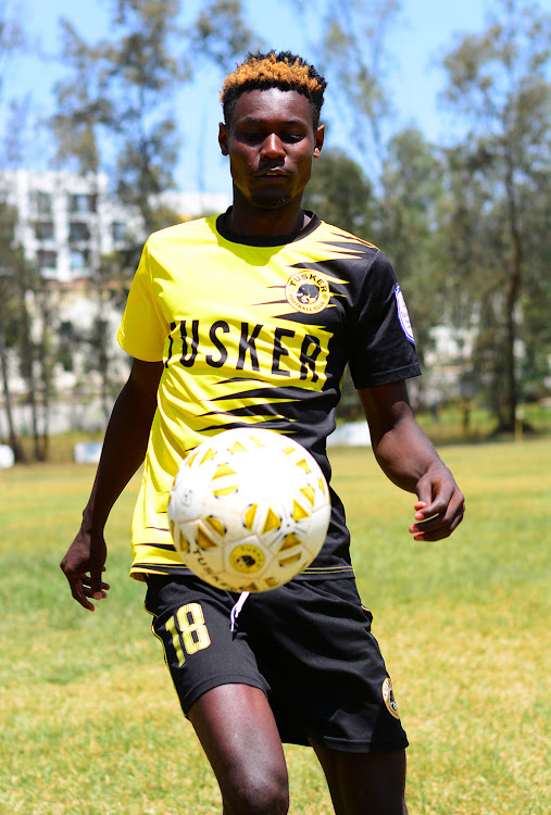 Tusker's Henry Meja juggles the ball during a training session at Ruaraka.