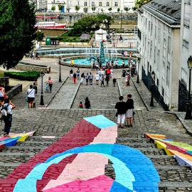 Stairway art by Stephen Lang - City,  Street & Park  Street Scenes