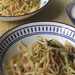 Carbonara recipe with a Greek-style yogurt twist.