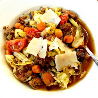 Sausage Cabbage Vegetable Soup.
