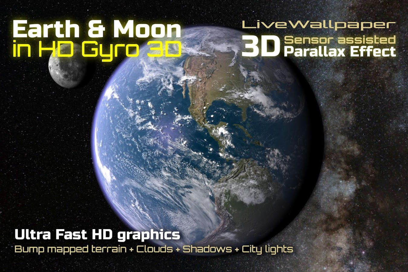 Earth & Moon in HD Gyro 3D- screenshot