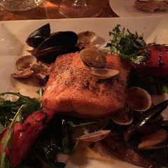 Arctic char with clams and mussels