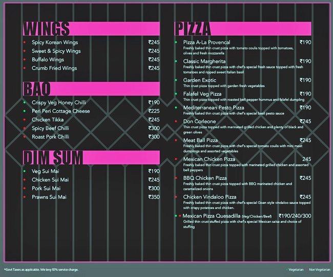 Bflat and Highnote Bar and Dining menu 2