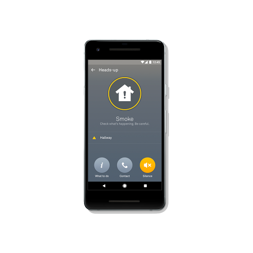 Nest app smoke alarm feature on smartphone