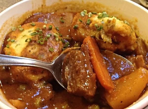 Bourguignon Beef Stew With Corn Chive Dumplings
