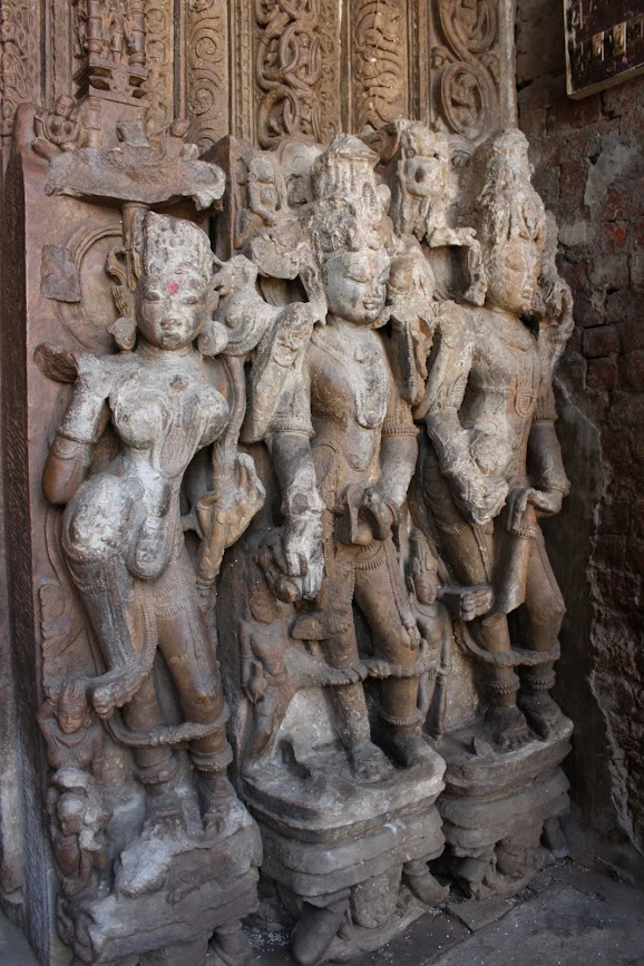 Yamuna with dvarpalas