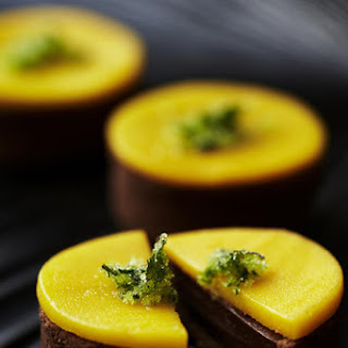 Chocolate, Cilantro and Mango Tarts.