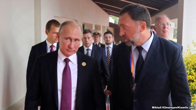 Олег Дерипаска с Владимиром Путиным